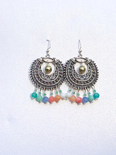 Darling Ornamentale Silver crescent with rainbow colored Quartzite beads earrings