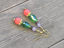 Load image into Gallery viewer, Rose pink quartzite bead on apple green teardrop cut glass bead and light purple quartzite on gold earring
