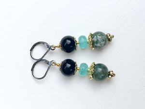 Black bead with aqua rose cut and green marbled quartzite stone earrings
