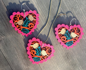Love Birds Pink Heart Earring Neckless Jewelry Set