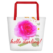 Load image into Gallery viewer, hello darling! Pink Rose Beach Tote Bag
