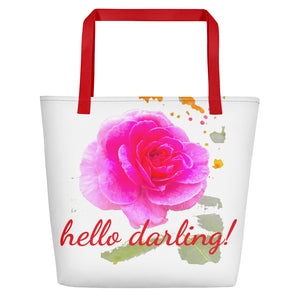 hello darling! Pink Rose Beach Tote Bag