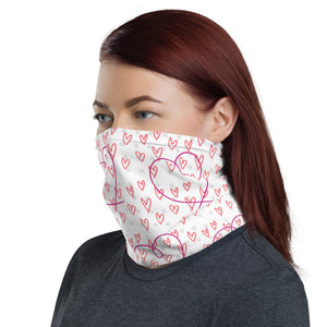 Red Pink Heart Face Mask Neck Gaiter