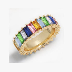 Sterling Silver 925 thin gold ring line micro pave cz eternity 10 colors stack 925 silver rainbow cz women ring