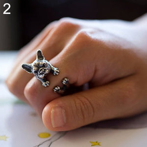 Adjustable Retro Frenchi Bulldog Openings Ring