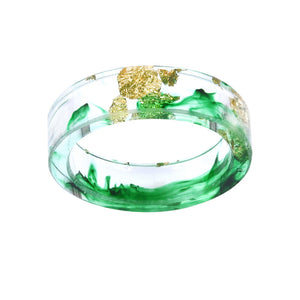 Hot Colored handmade Gold inlayed Resin Ring For Women and Men