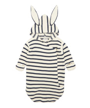 Load image into Gallery viewer, Oeuf Bunny Wrap // White/Navy Stripes by Oeuf - Mini Pop Style
