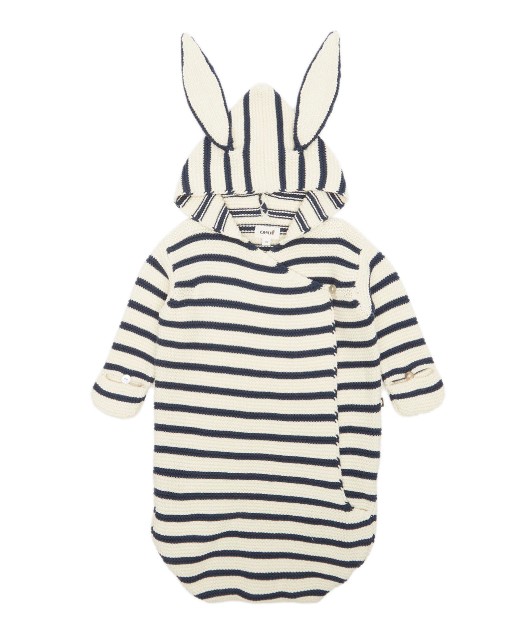 Oeuf Bunny Wrap // White/Navy Stripes by Oeuf - Mini Pop Style