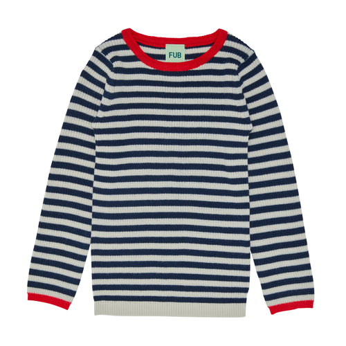 FUB Striped Rib Blouse // Ecru/Navy by FUB - Mini Pop Style