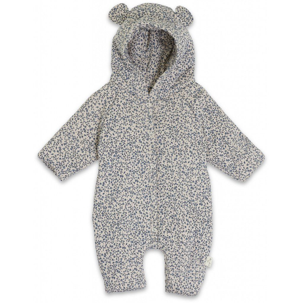 Konges Sløjd New Born Onesie With Hood // Blue Blossom Mist by Konges Sløjd - Mini Pop Style