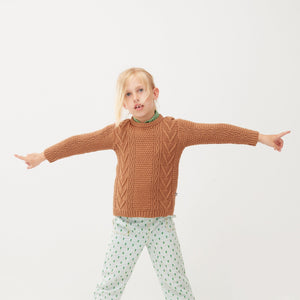 Oeuf Cable Knit Sweater // Brown Sugar by Oeuf - Mini Pop Style