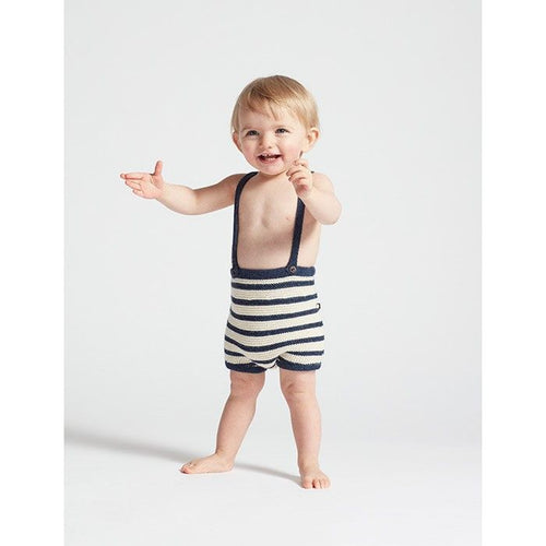 Oeuf Suspender Shorts // Indigo/White Stripes by Oeuf - Mini Pop Style