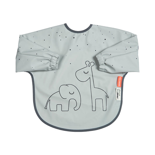 Done By Deer Sleeved Bib Dreamy Dots // Grey by done by deer - Mini Pop Style