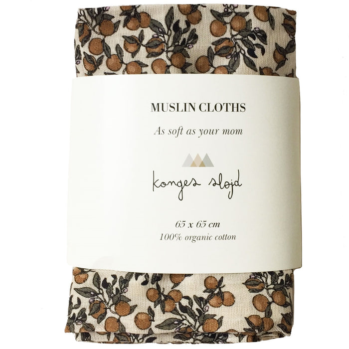Konges Sløjd 3 Pack Muslin Cloth // Orangery Beige