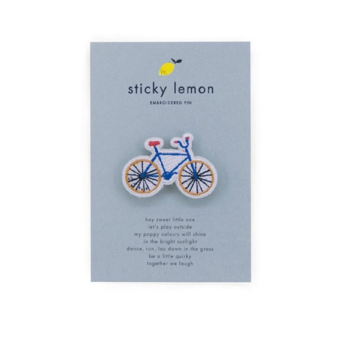 Sticky Lemon Embroidered Pins Bike
