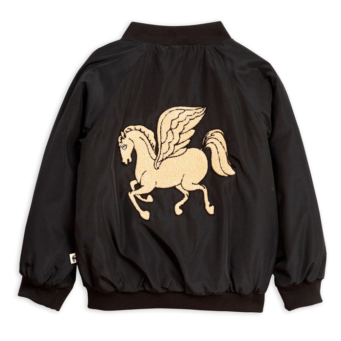 Mini Rodini Pegasus Baseball Jacket // Black - Mini Pop Style