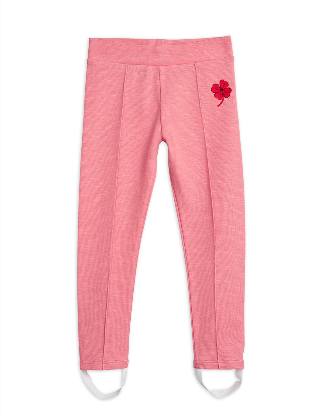 Mini Rodini Clover Embroidered Leggings // Pink