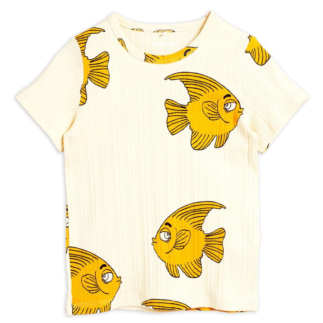Mini Rodini Fish Short Sleeve Tee // Offwhite by Mini Rodini - Mini Pop Style