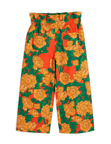 Mini Rodini Peonies Woven Paper Bag Trousers // Red