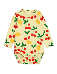Mini Rodini Cherry Lemonade AOP LS Body // Yellow