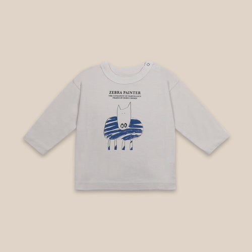BOBO CHOSES Zebra Painter Long Sleeve T-Shirt // Brown Rice