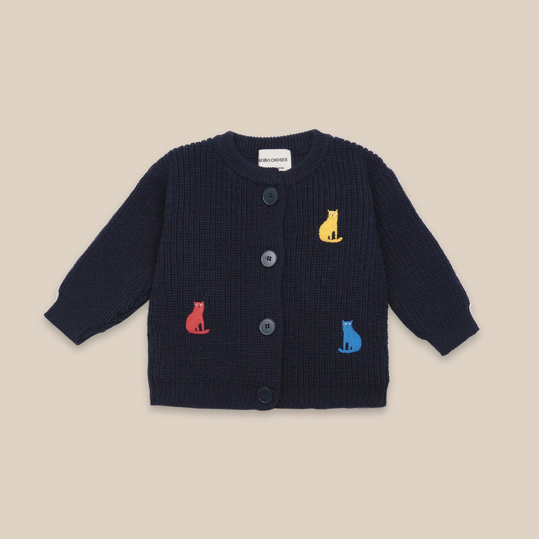 BOBO CHOSES Cats Cardigan // Twilight Blue