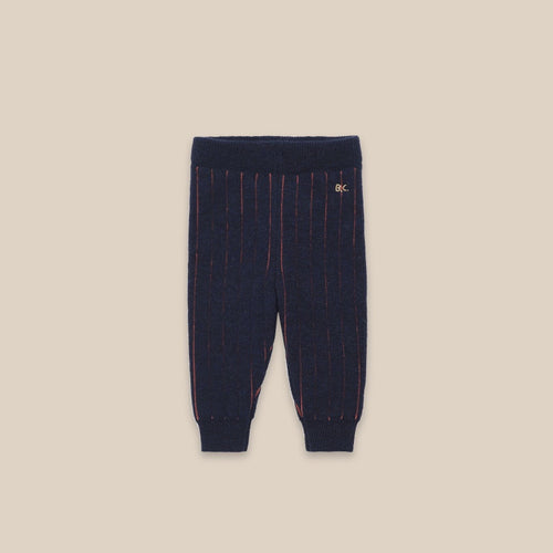 BOBO CHOSES Vertical Stripes Knitted Leggings // Blue Indigo