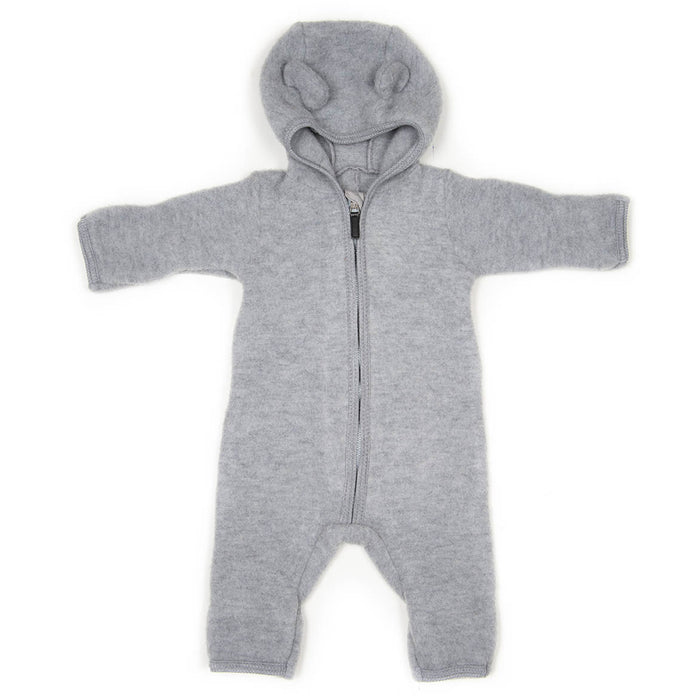 Huttelihut Allie Babysuit w/ Ears Wool Fleece // Light Grey