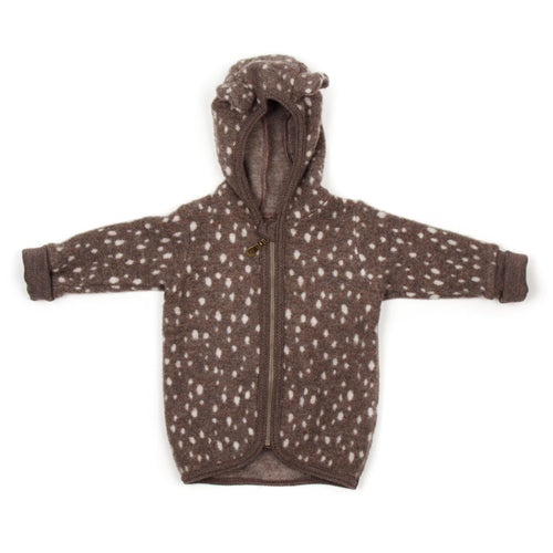 Huttelihut Jackie Baby Jacket Wool Fleece With Ears // Bambi
