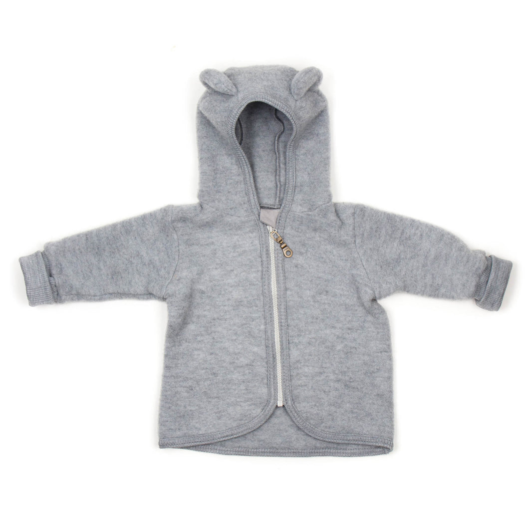 Huttelihut Jackie Baby Jacket w/ Ears Wool Fleece // Light Grey