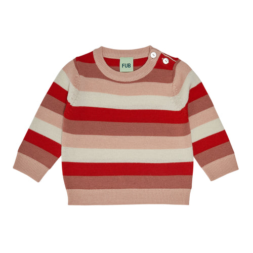 FUB Baby Multi Striped Blouse Wool // Coral/Bright Red/Ecru/Pale Pink