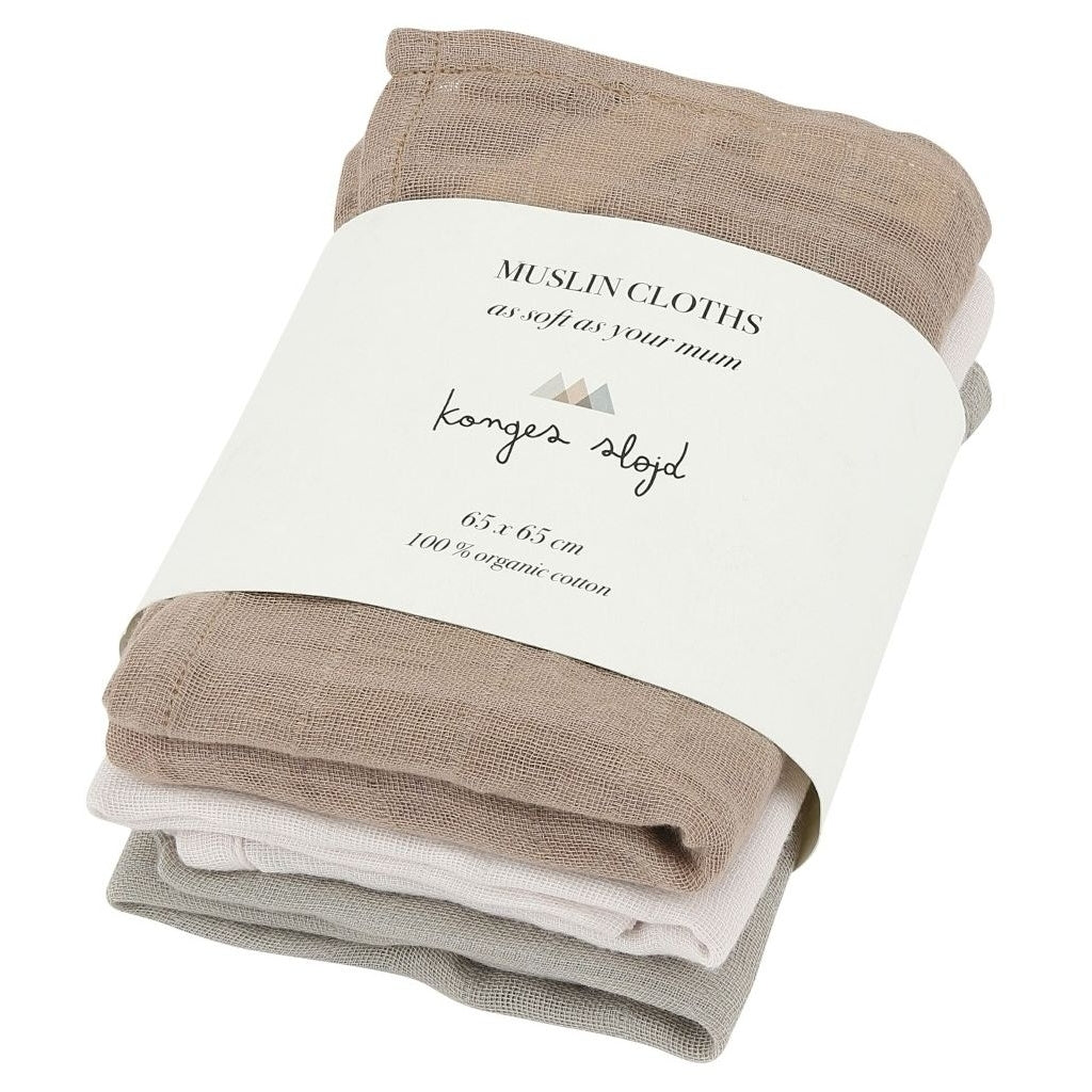Konges Sløjd 3 Pack Muslin Cloths // Rose Dust