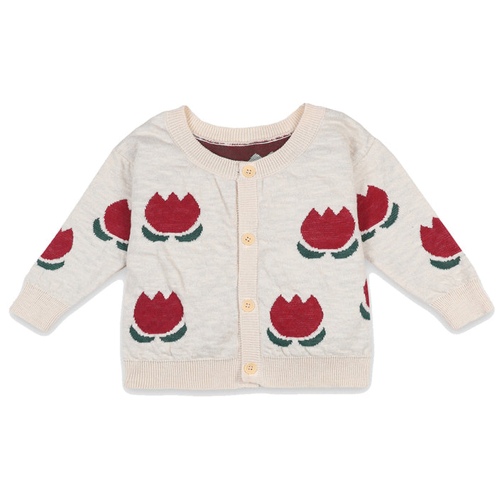 BOBO CHOSES Chocolate Flowers Jacquard Cardigan | Mini Pop Style