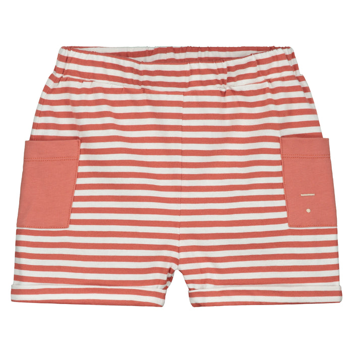 Gray Label Relaxed Pocket Shorts // Faded Red & Off White by Gray Label - Mini Pop Style