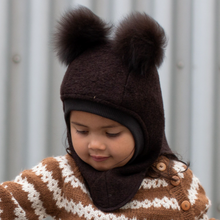 Load image into Gallery viewer, Huttelihut Elefanthut Alpaca Pompoms // Brown