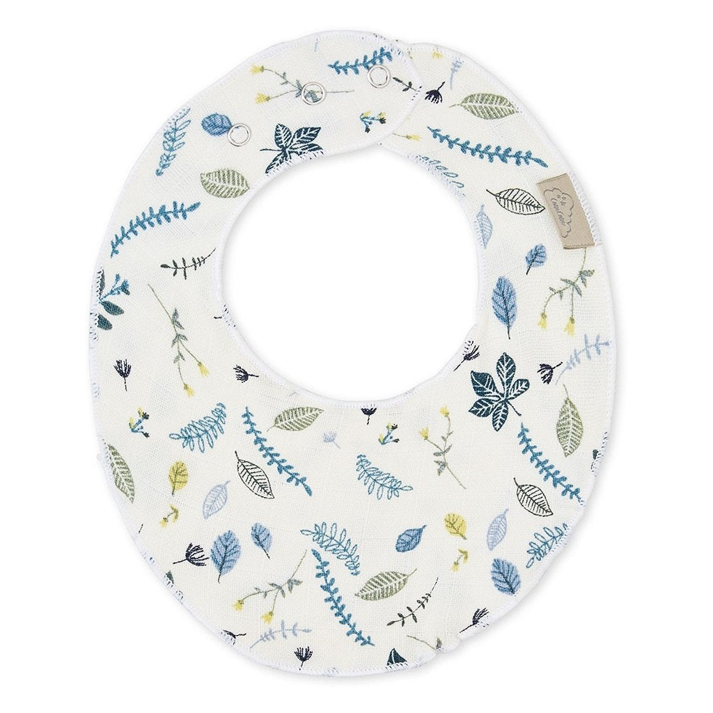 Cam Cam  Bib Teething Jersey // Pressed Leaves Blue by Cam Cam - Mini Pop Style