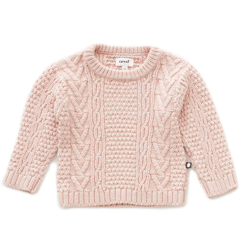 Oeuf Cable Knit Sweater // Coral Almond by Oeuf - Mini Pop Style