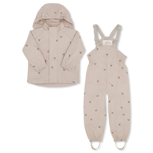 Konges Sløjd Palme Rainwear Set Fleece Print //  Rose Dust - Cherry by Konges Sløjd - Mini Pop Style