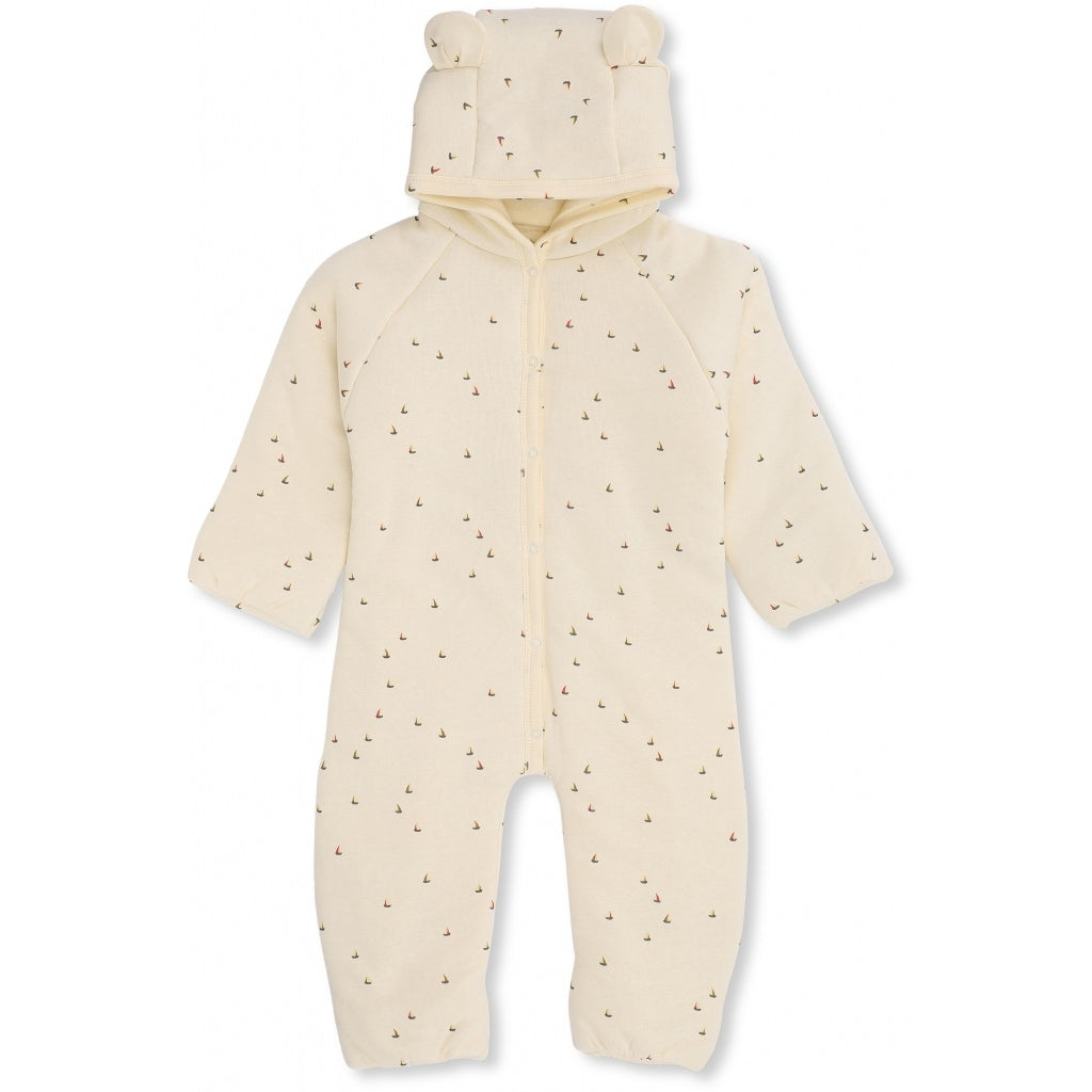 Konges Sløjd New Born Onesie With Hood // Mille Marine Off White