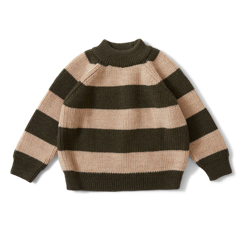 Konges Sløjd Witum Knit Sweater Wool // Dark Olive/Creamy White