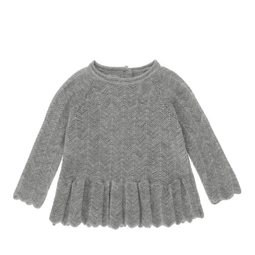 Konges Sløjd Fortune Frill Wool Blouse Pointelle // Light Grey Melange