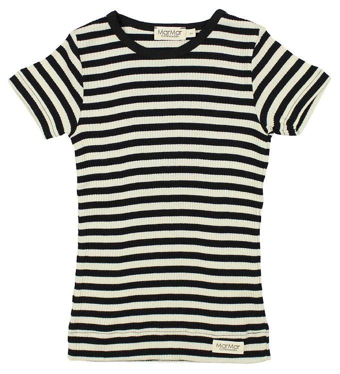 MarMar Tee Short Sleeve Stripes // Caviar/Off Withe by MarMar - Mini Pop Style