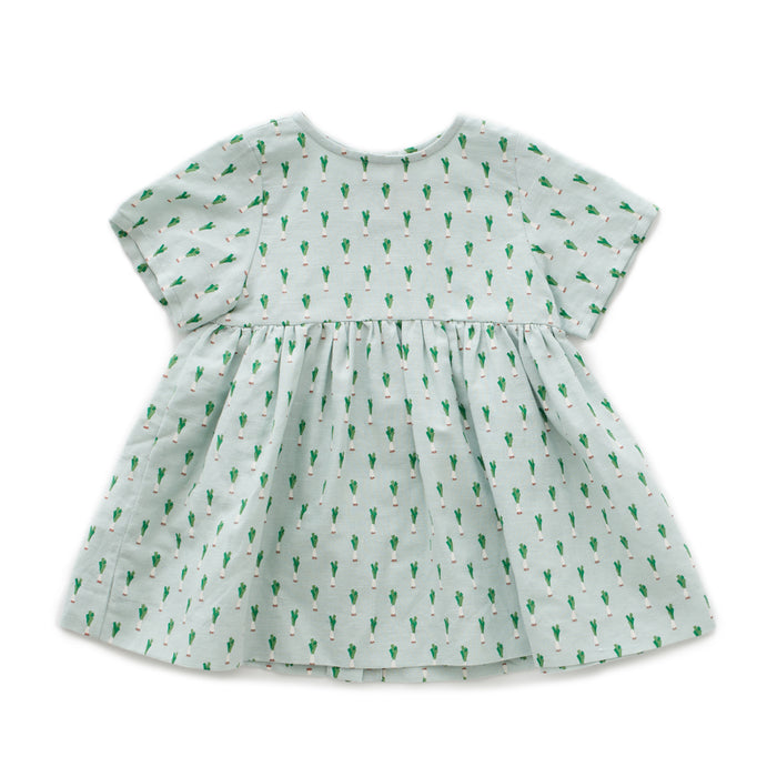 Oeuf Short Sleeve Dress // Leek Print