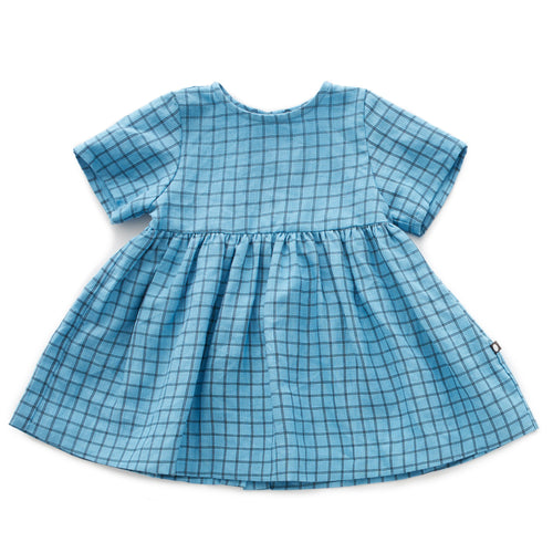 Oeuf Short Sleeve Dress // Blue Checks by Oeuf - Mini Pop Style