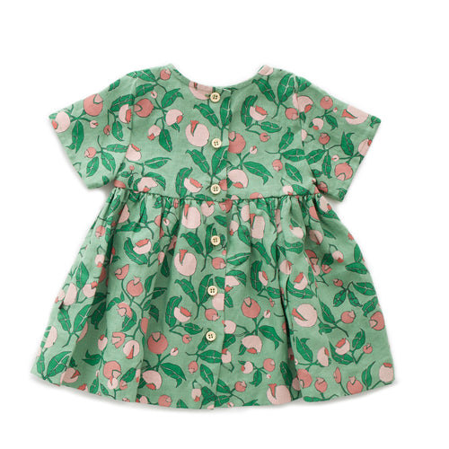 Oeuf Short Sleeve Dress // Green Flowers by Oeuf - Mini Pop Style