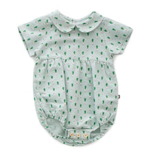 Load image into Gallery viewer, Oeuf Short Sleeve Romper // Leek Print by Oeuf - Mini Pop Style