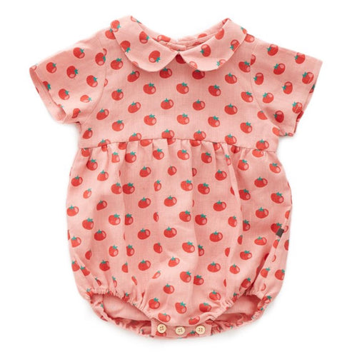 Oeuf Short Sleeve Romper // Tomato Print by Oeuf - Mini Pop Style