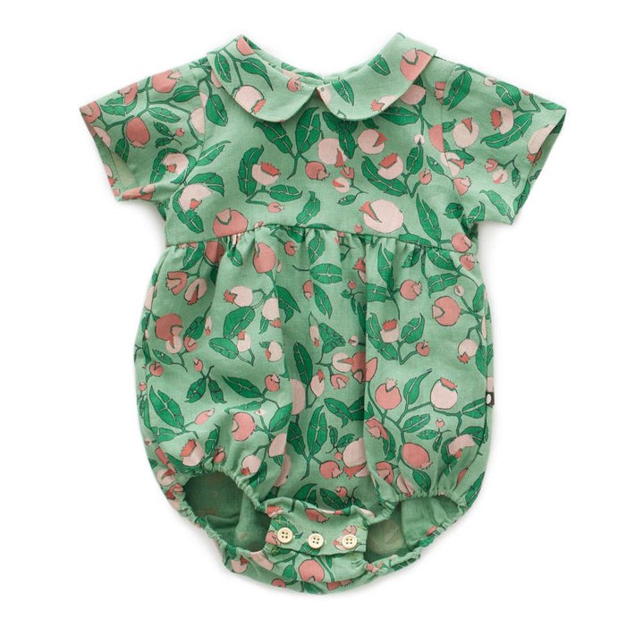 Oeuf Short Sleeve Romper // Green Flowers