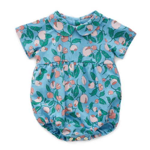 Oeuf Short Sleeve Romper // Blue Flowers by Oeuf - Mini Pop Style