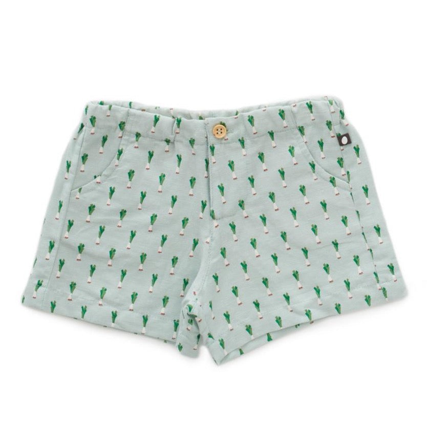 Oeuf Woven Shorts // Leek Print by Oeuf - Mini Pop Style